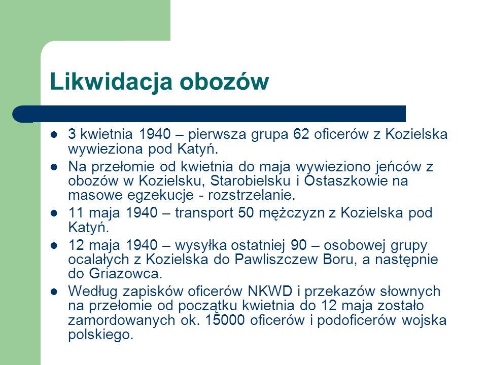 Likwidacja obozów 3 kwietnia 1940 – pierwsza grupa 62 oficerów z Kozielska wywieziona pod Katyń.