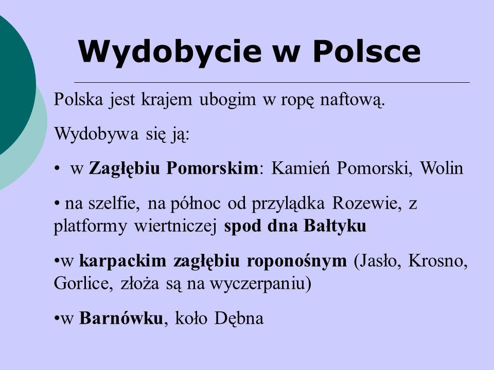 Wydobycie w Polsce Polska jest krajem ubogim w ropę naftową.
