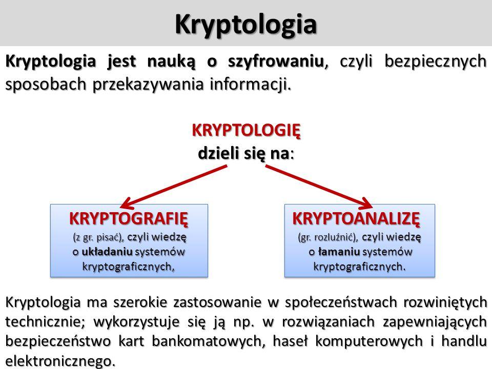 Kryptologia Kryptologia jest nauką o szyfrowaniu, czyli bezpiecznych sposobach przekazywania informacji.