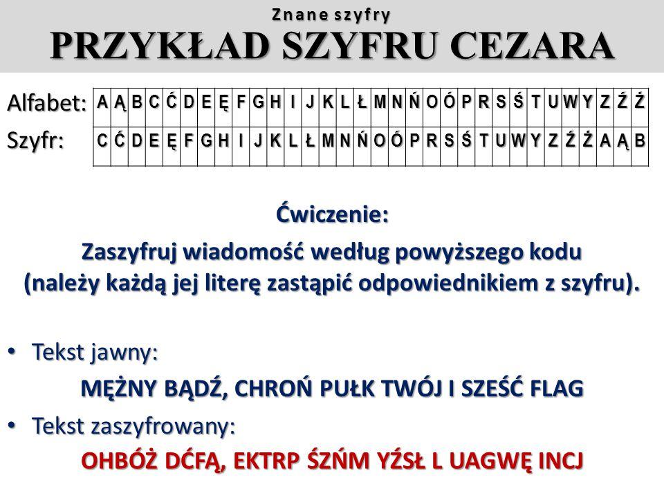 MĘŻNY BĄDŹ, CHROŃ PUŁK TWÓJ I SZEŚĆ FLAG Tekst zaszyfrowany: