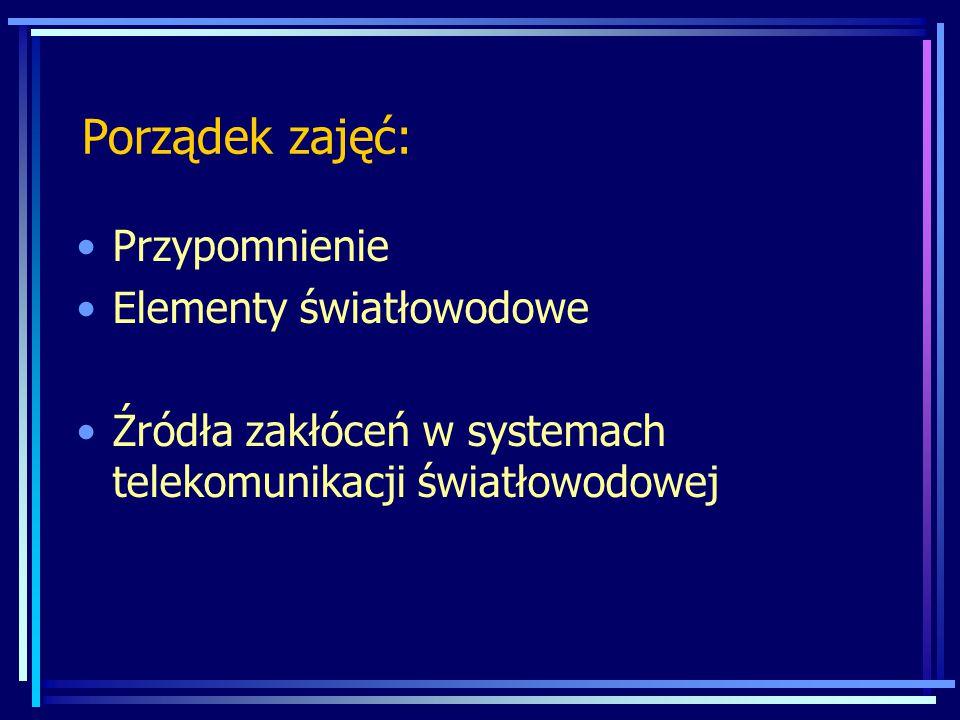 Porządek zajęć: Przypomnienie Elementy światłowodowe