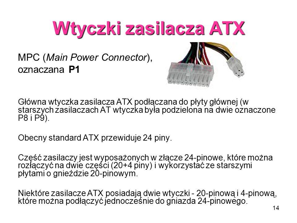 Wtyczki zasilacza ATX MPC (Main Power Connector), oznaczana P1