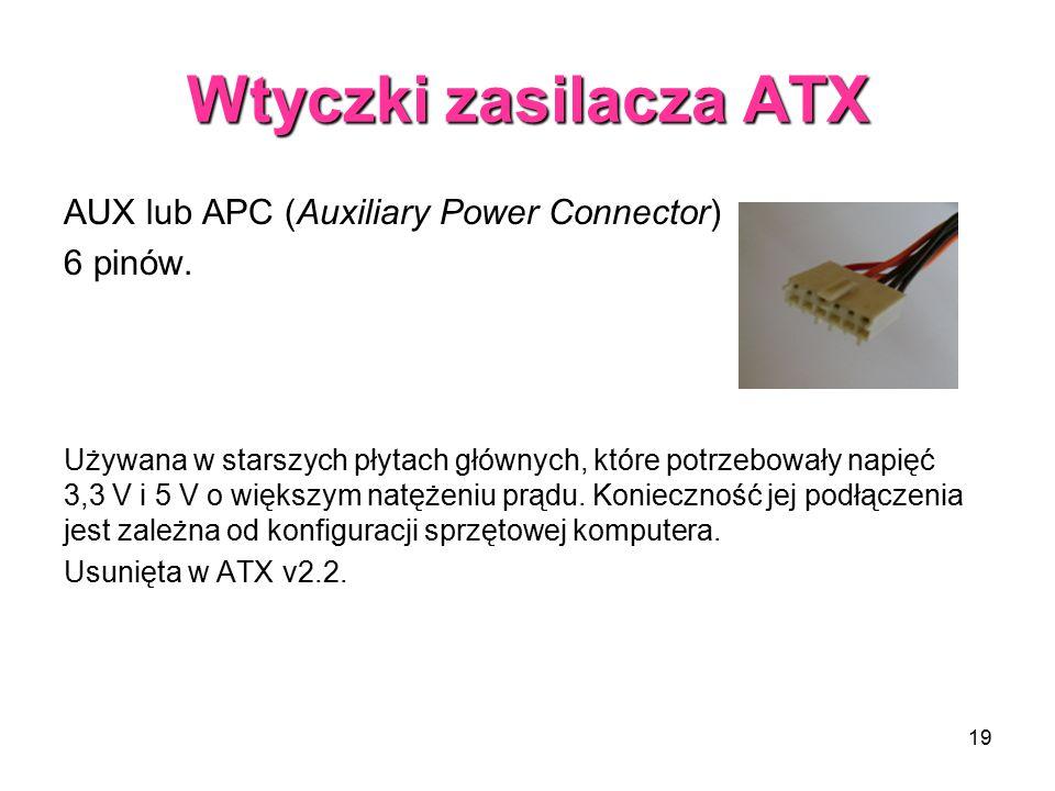 Wtyczki zasilacza ATX AUX lub APC (Auxiliary Power Connector) 6 pinów.