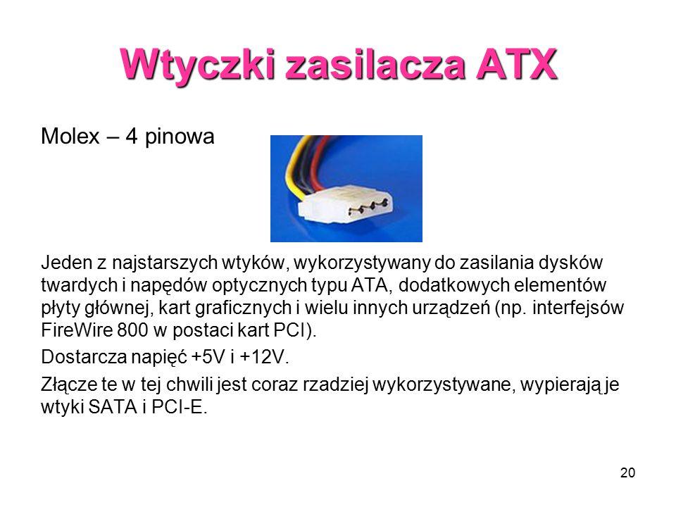 Wtyczki zasilacza ATX Molex – 4 pinowa