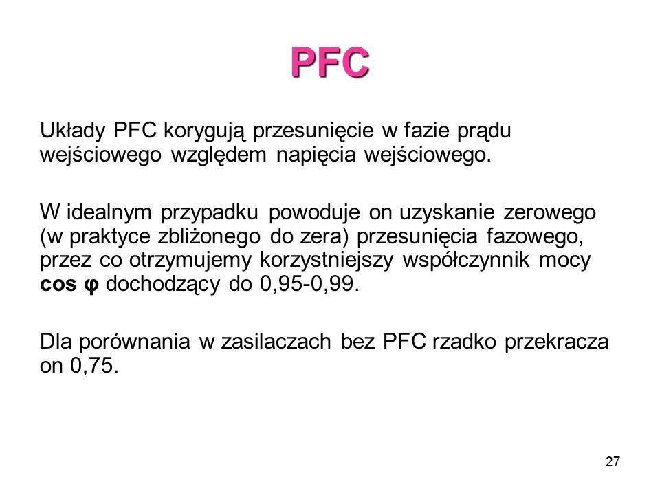 PFC Układy PFC korygują przesunięcie w fazie prądu wejściowego względem napięcia wejściowego.
