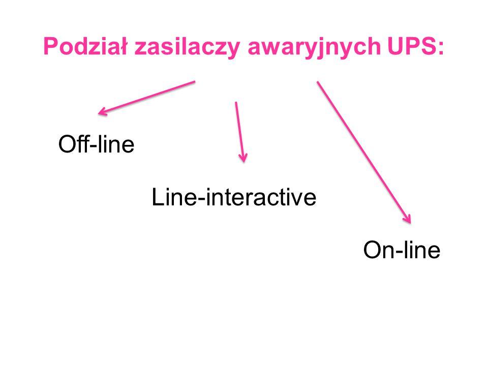 Podział zasilaczy awaryjnych UPS: