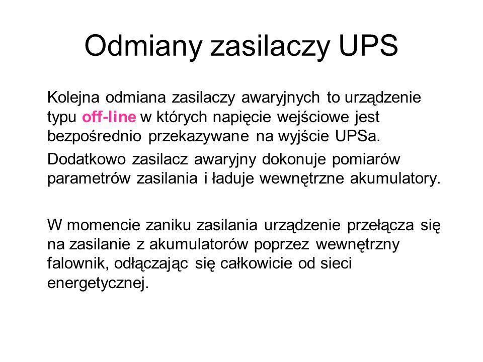 Odmiany zasilaczy UPS