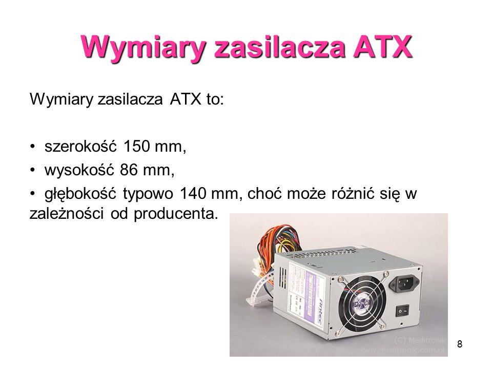 Wymiary zasilacza ATX Wymiary zasilacza ATX to: szerokość 150 mm,