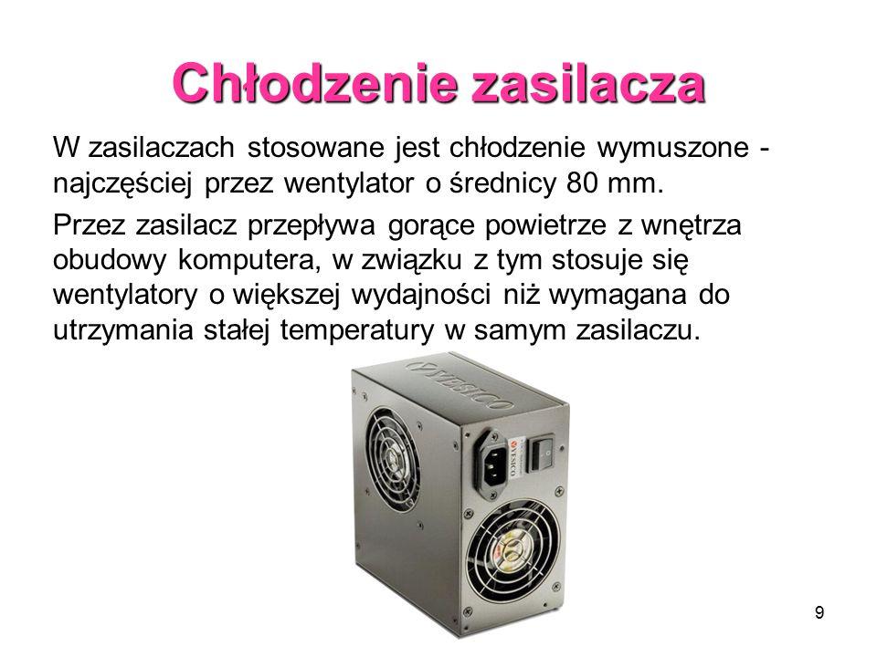 Chłodzenie zasilacza W zasilaczach stosowane jest chłodzenie wymuszone - najczęściej przez wentylator o średnicy 80 mm.