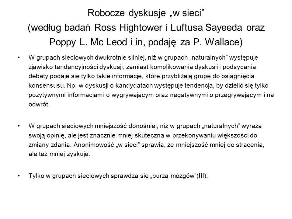 """Robocze dyskusje """"w sieci (według badań Ross Hightower i Luftusa Sayeeda oraz Poppy L. Mc Leod i in, podaję za P. Wallace)"""