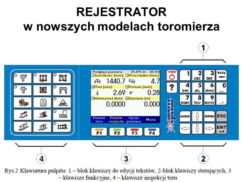 REJESTRATOR w nowszych modelach toromierza
