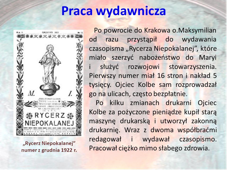 """""""Rycerz Niepokalanej numer z grudnia 1922 r."""