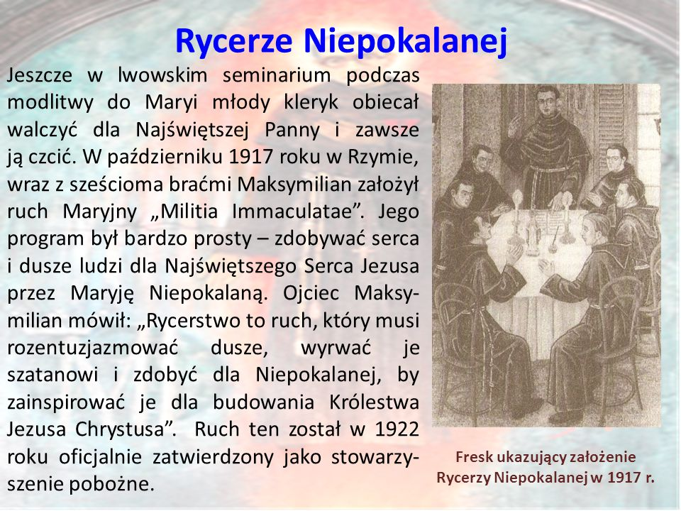 Fresk ukazujący założenie Rycerzy Niepokalanej w 1917 r.