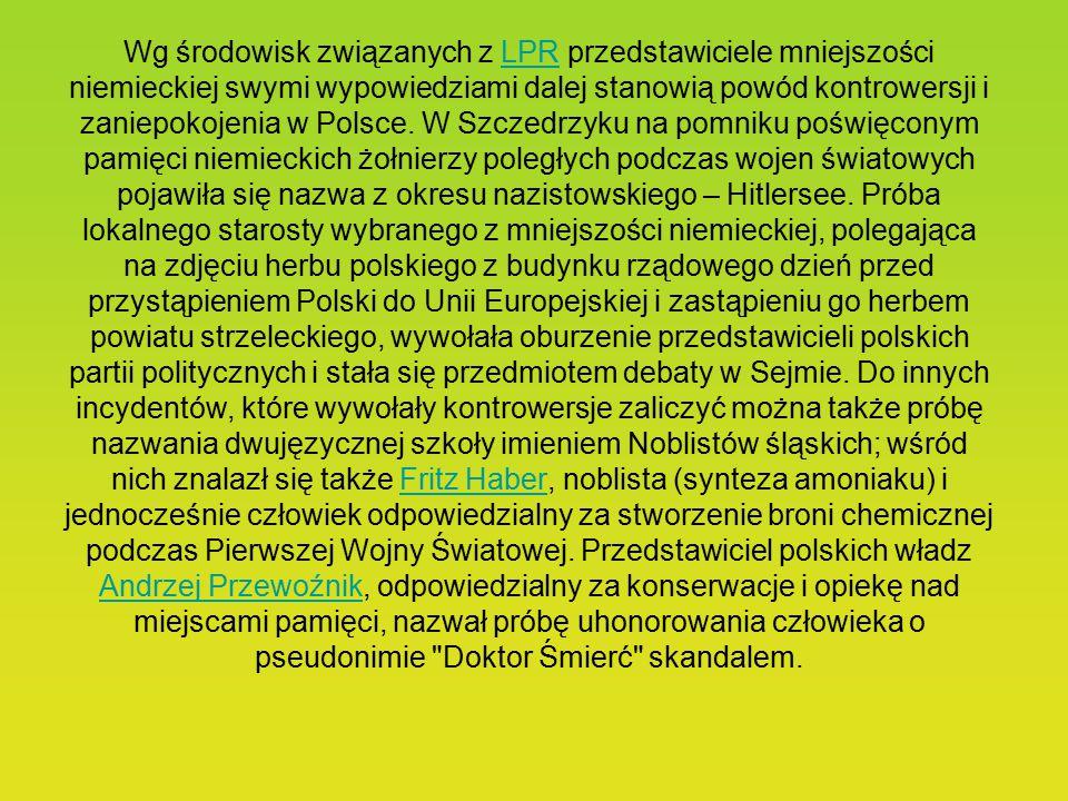 Wg środowisk związanych z LPR przedstawiciele mniejszości niemieckiej swymi wypowiedziami dalej stanowią powód kontrowersji i zaniepokojenia w Polsce.
