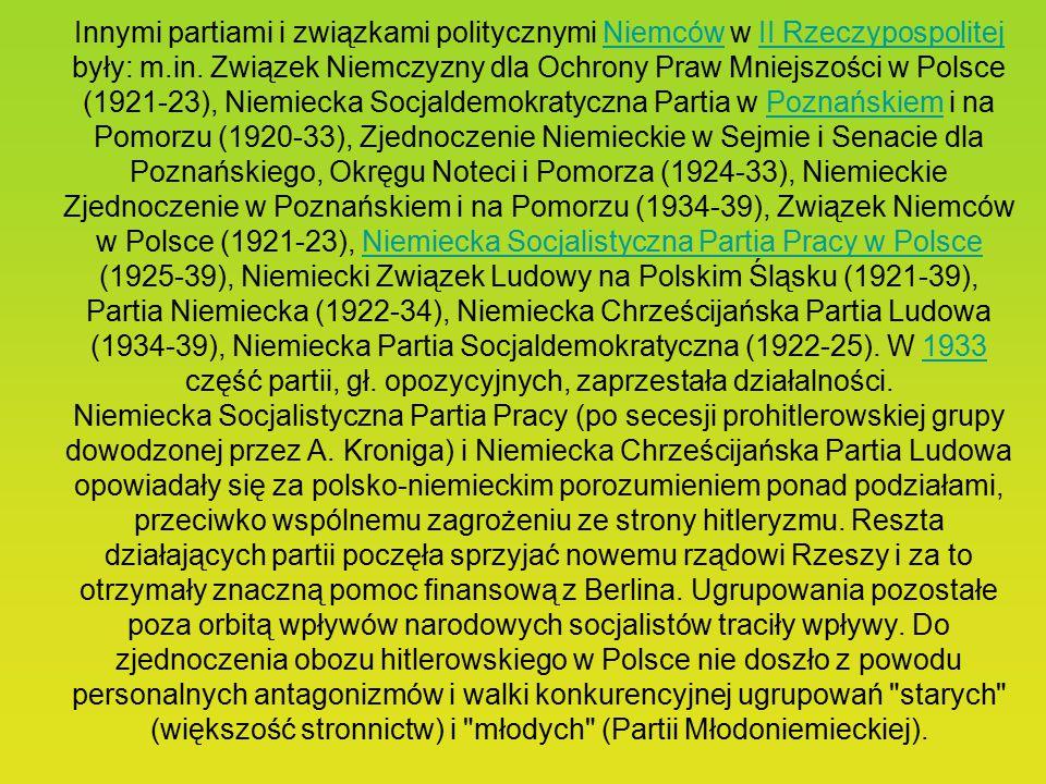 Innymi partiami i związkami politycznymi Niemców w II Rzeczypospolitej były: m.in.