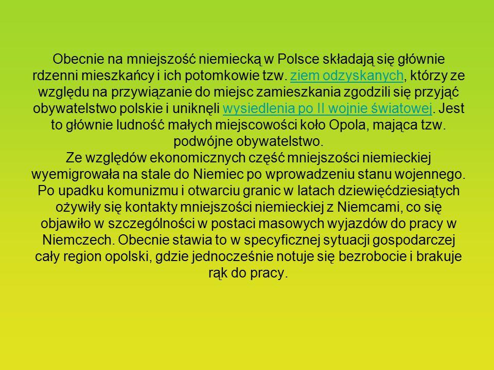 Obecnie na mniejszość niemiecką w Polsce składają się głównie rdzenni mieszkańcy i ich potomkowie tzw.