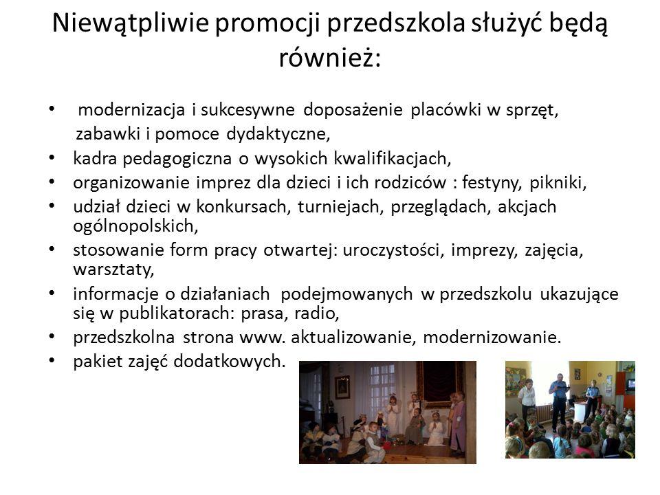 Niewątpliwie promocji przedszkola służyć będą również: