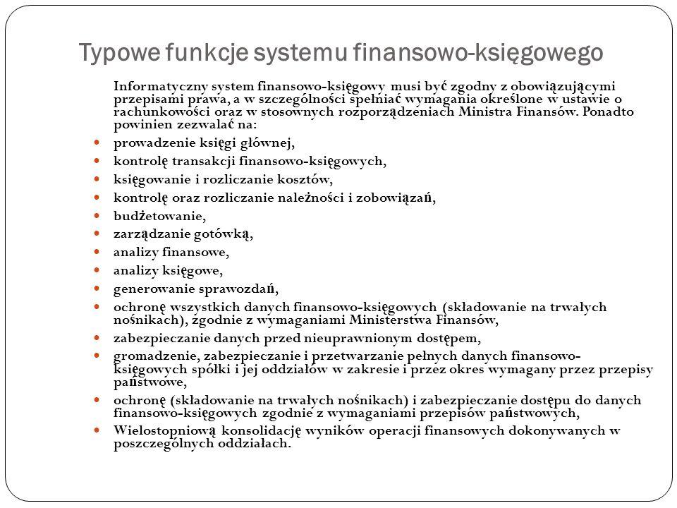 Typowe funkcje systemu finansowo-księgowego