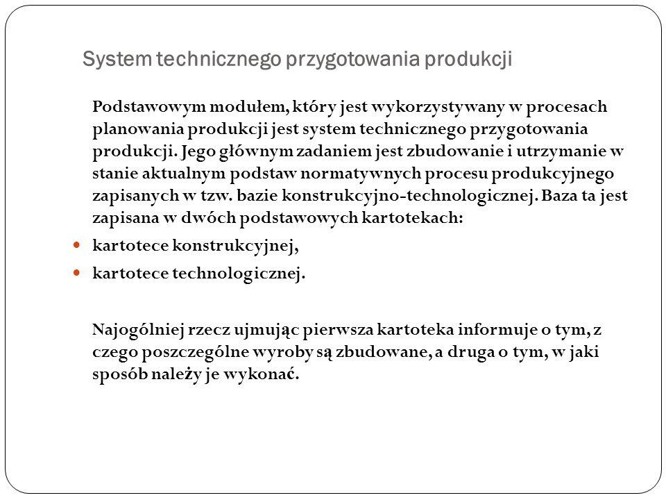 System technicznego przygotowania produkcji