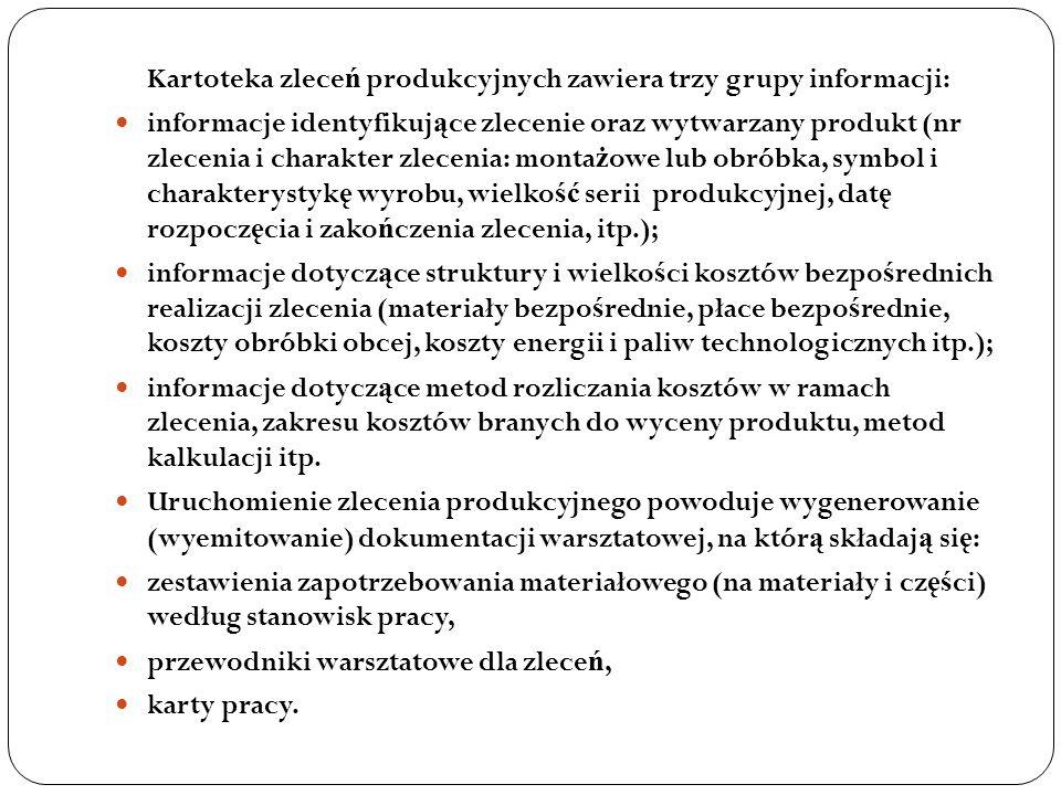 Kartoteka zleceń produkcyjnych zawiera trzy grupy informacji: