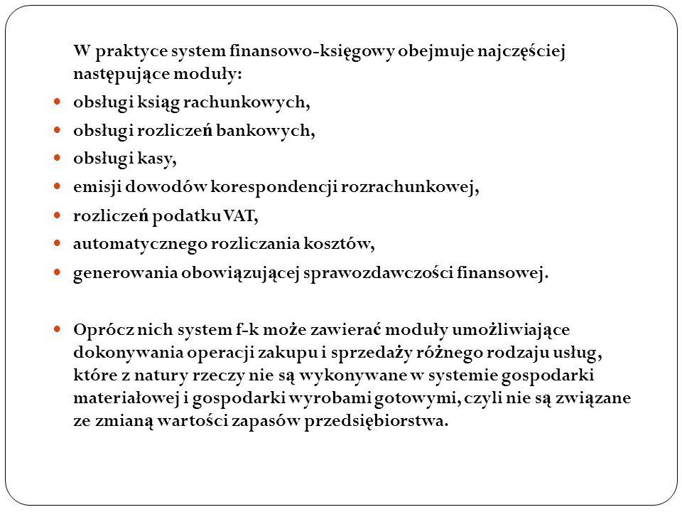 W praktyce system finansowo-księgowy obejmuje najczęściej następujące moduły: