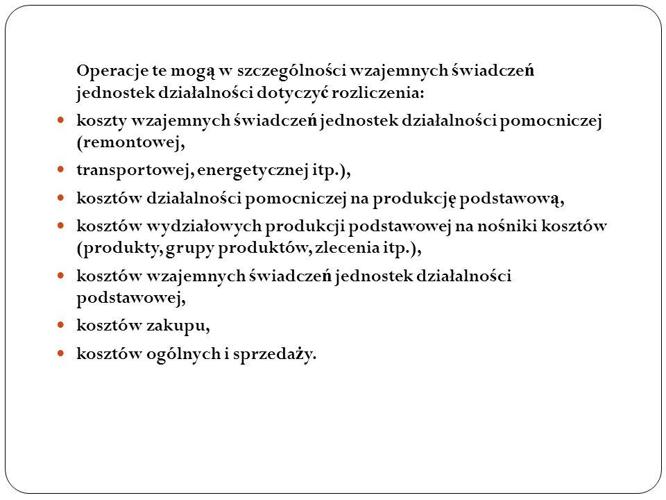 Operacje te mogą w szczególności wzajemnych świadczeń jednostek działalności dotyczyć rozliczenia: