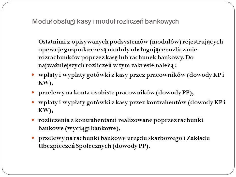 Moduł obsługi kasy i moduł rozliczeń bankowych