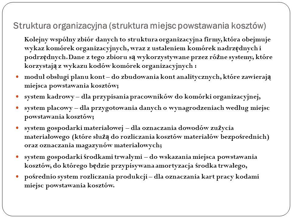 Struktura organizacyjna (struktura miejsc powstawania kosztów)