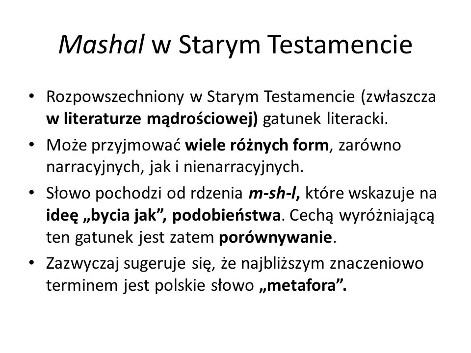 Mashal w Starym Testamencie