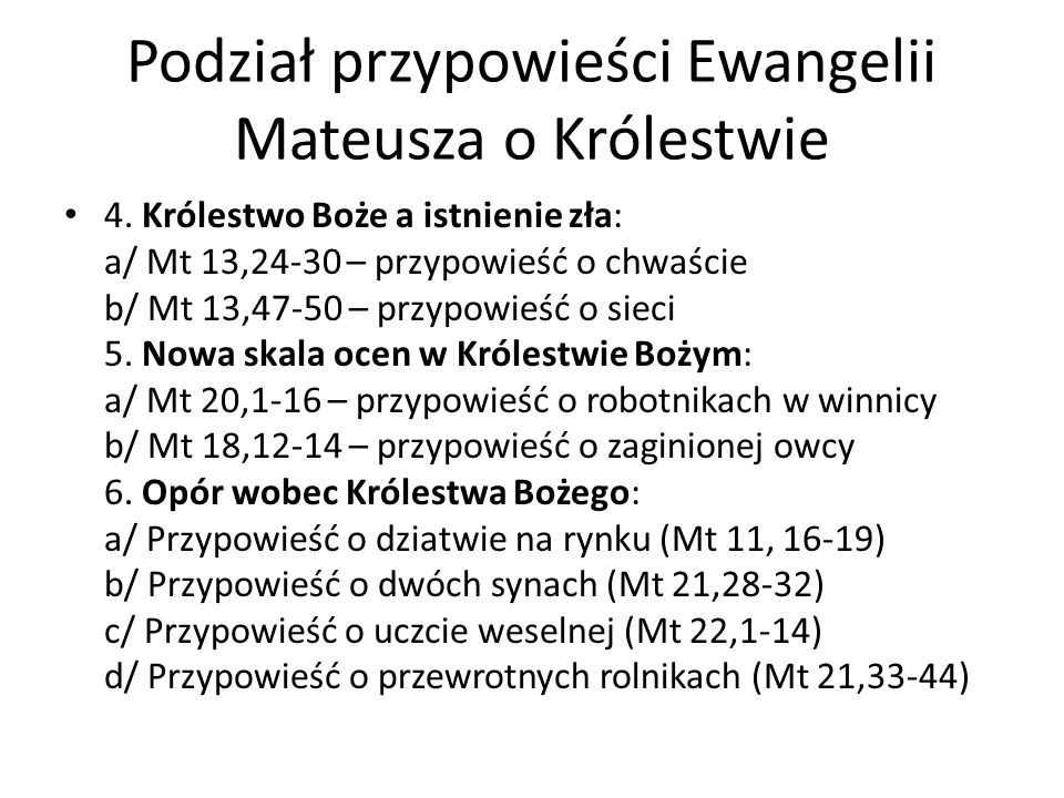 Podział przypowieści Ewangelii Mateusza o Królestwie