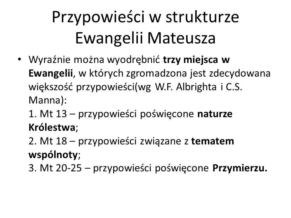 Przypowieści w strukturze Ewangelii Mateusza
