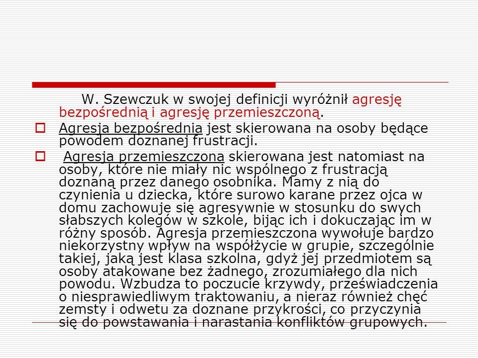W. Szewczuk w swojej definicji wyróżnił agresję bezpośrednią i agresję przemieszczoną.
