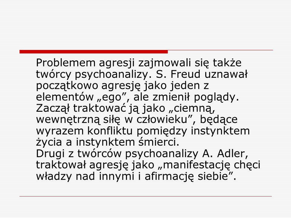 Problemem agresji zajmowali się także twórcy psychoanalizy. S