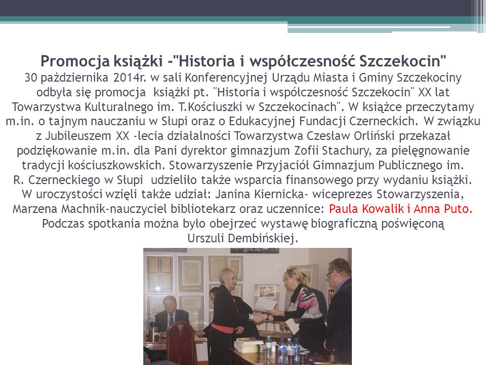 Promocja książki - Historia i współczesność Szczekocin 30 pażdziernika 2014r.