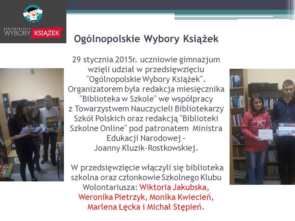 Ogólnopolskie Wybory Książek 29 stycznia 2015r