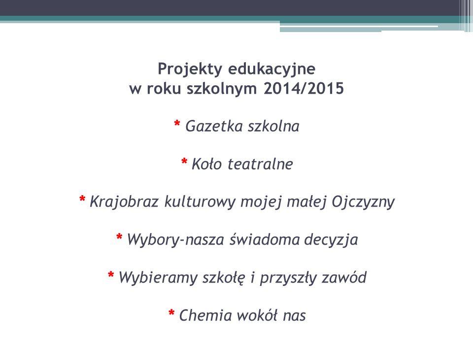 Projekty edukacyjne w roku szkolnym 2014/2015. Gazetka szkolna