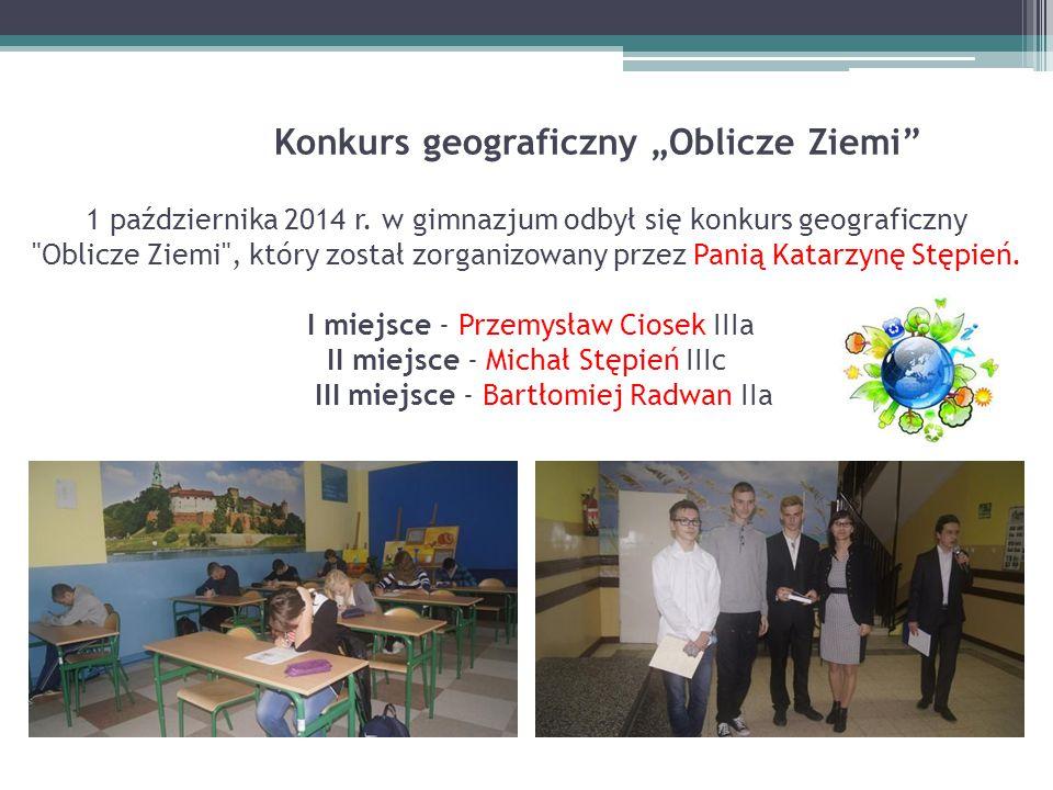 """Konkurs geograficzny """"Oblicze Ziemi 1 października 2014 r"""