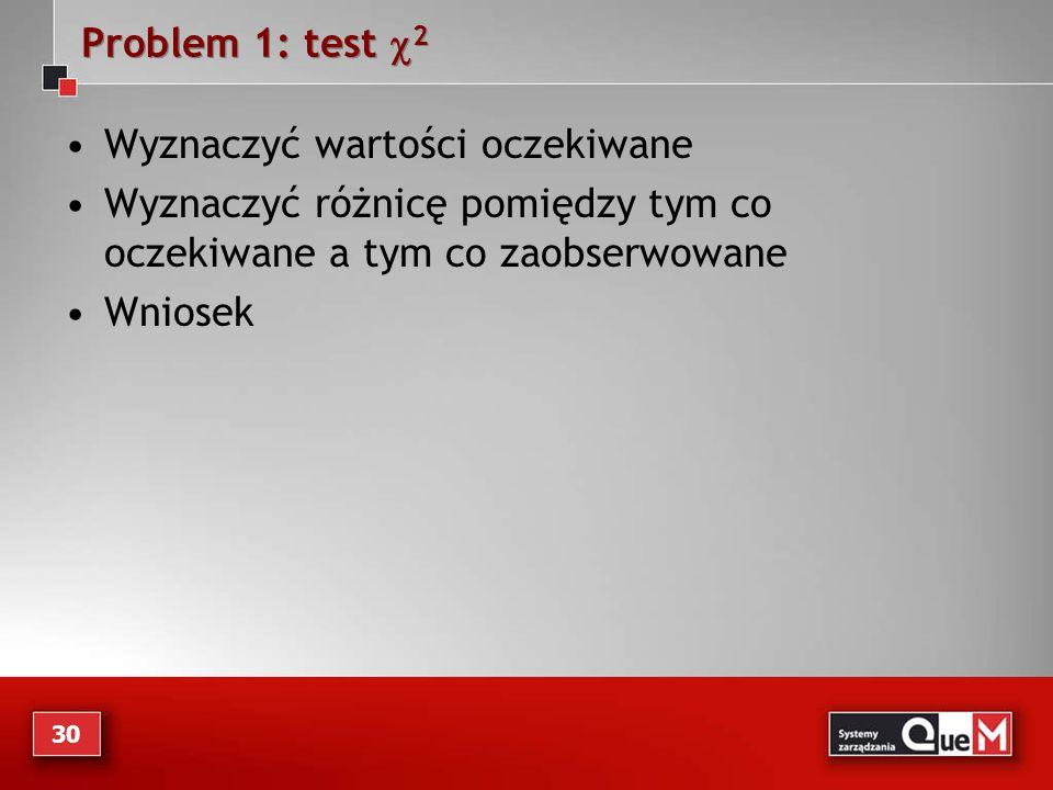 Problem 1: test c2 Wyznaczyć wartości oczekiwane. Wyznaczyć różnicę pomiędzy tym co oczekiwane a tym co zaobserwowane.