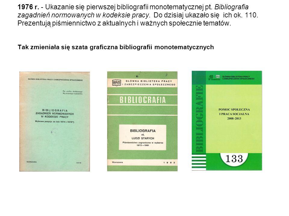 1976 r. - Ukazanie się pierwszej bibliografii monotematycznej pt