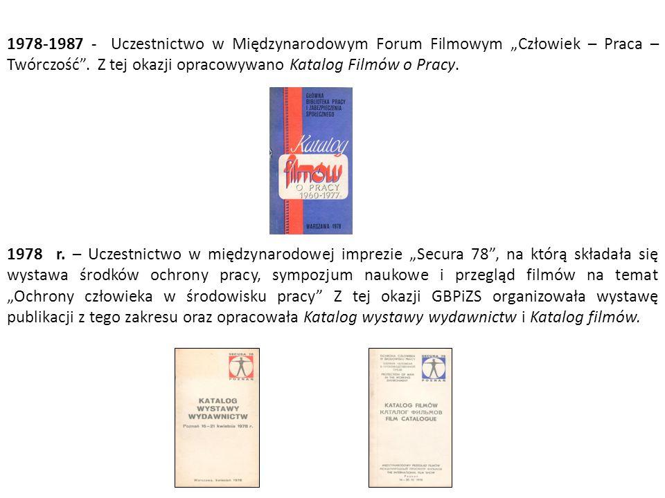 """1978-1987 - Uczestnictwo w Międzynarodowym Forum Filmowym """"Człowiek – Praca – Twórczość . Z tej okazji opracowywano Katalog Filmów o Pracy."""