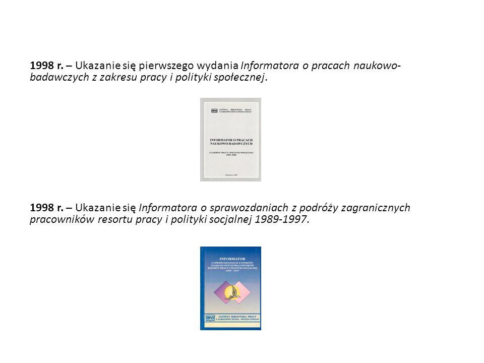 1998 r. – Ukazanie się pierwszego wydania Informatora o pracach naukowo-badawczych z zakresu pracy i polityki społecznej.