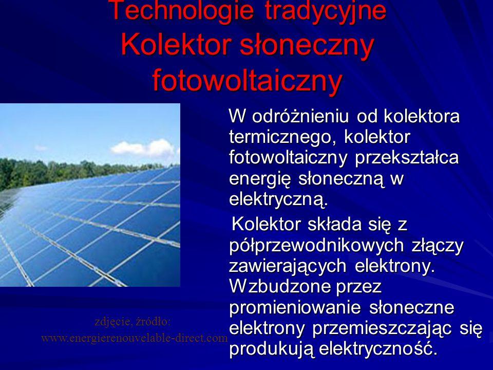 Technologie tradycyjne Kolektor słoneczny fotowoltaiczny