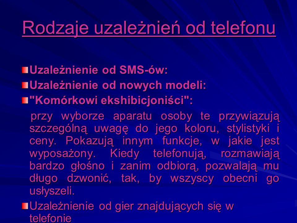 Rodzaje uzależnień od telefonu