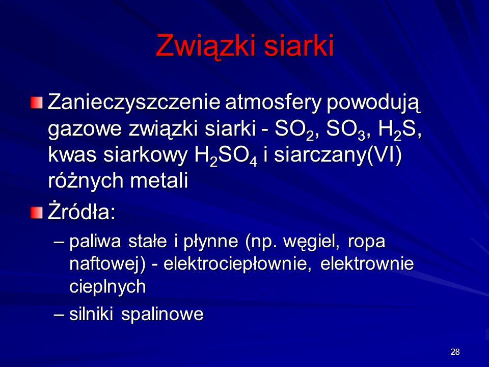 Związki siarki Zanieczyszczenie atmosfery powodują gazowe związki siarki - SO2, SO3, H2S, kwas siarkowy H2SO4 i siarczany(VI) różnych metali.