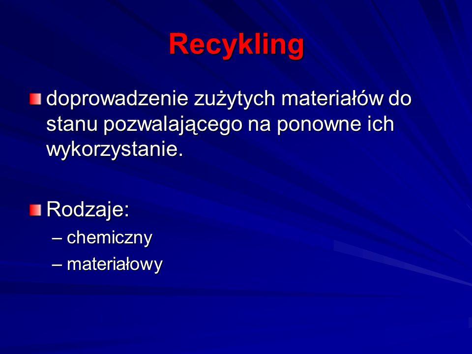 Recykling doprowadzenie zużytych materiałów do stanu pozwalającego na ponowne ich wykorzystanie. Rodzaje: