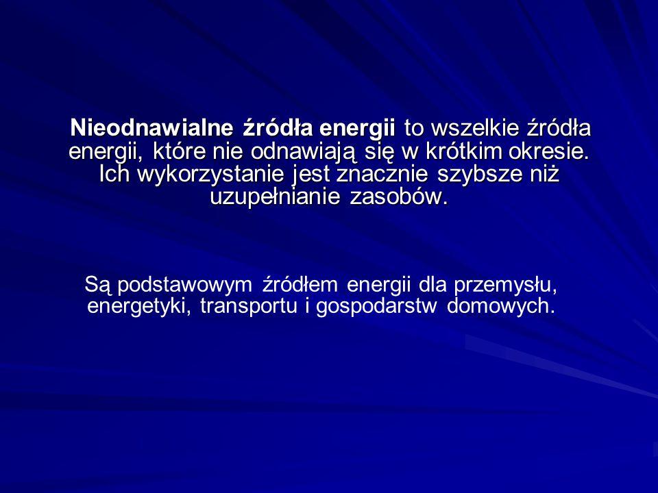 Nieodnawialne źródła energii to wszelkie źródła energii, które nie odnawiają się w krótkim okresie. Ich wykorzystanie jest znacznie szybsze niż uzupełnianie zasobów.