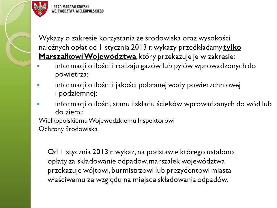 Wykazy o zakresie korzystania ze środowiska oraz wysokości należnych opłat od 1 stycznia 2013 r. wykazy przedkładamy tylko Marszałkowi Województwa, który przekazuje je w zakresie: Wielkopolskiemu Wojewódzkiemu Inspektorowi Ochrony Środowiska