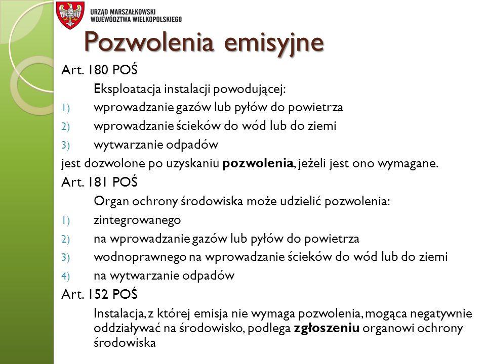 Pozwolenia emisyjne Art. 180 POŚ Art. 181 POŚ Art. 152 POŚ