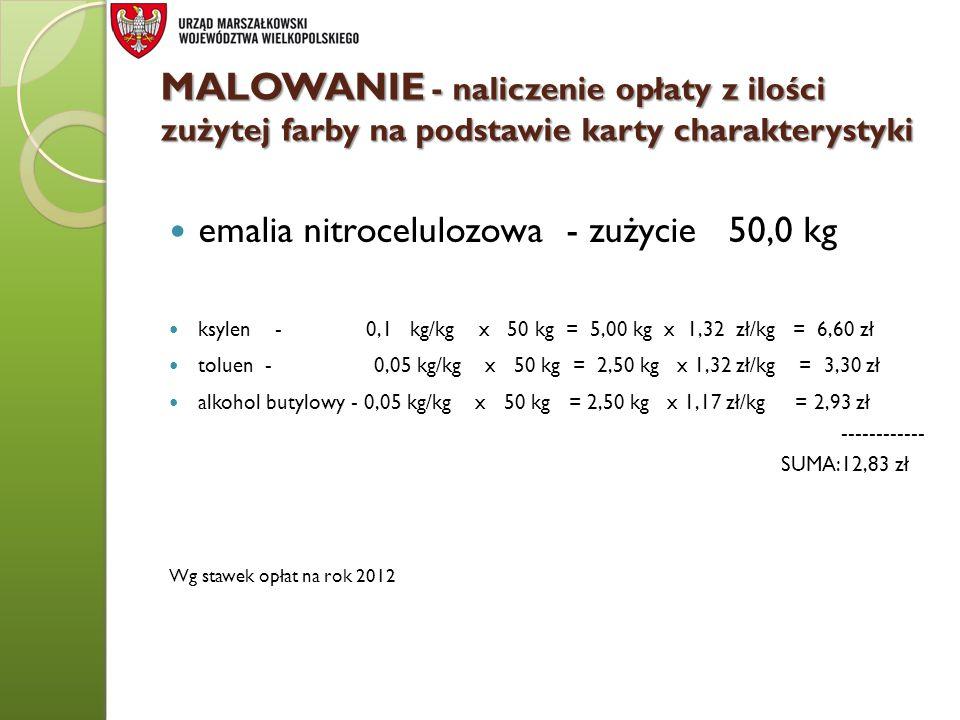 MALOWANIE - naliczenie opłaty z ilości zużytej farby na podstawie karty charakterystyki