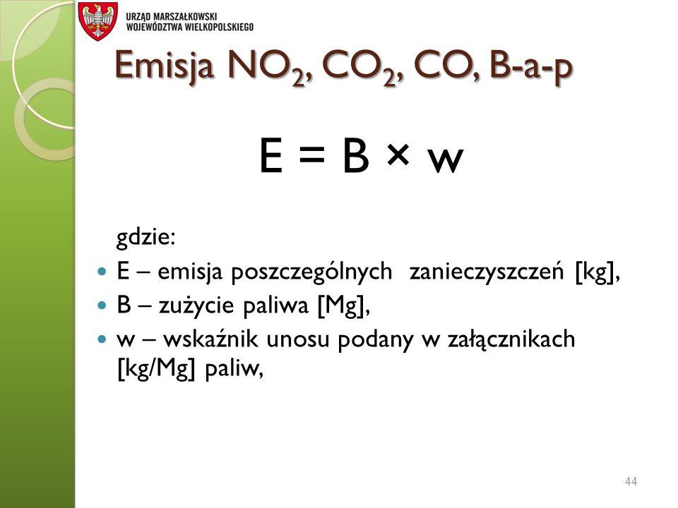 E = B × w Emisja NO2, CO2, CO, B-a-p gdzie: